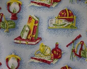 vintage 1950s seafaring print cotton interiors fabric