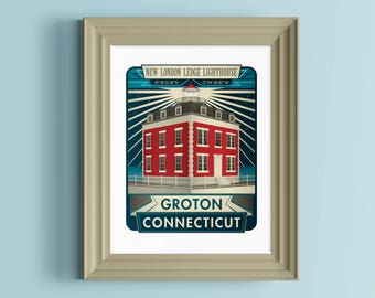 New London Ledge Lighthouse | Connecticut art | New England print | Groton | Lighthouse print | Connecticut home | Lighthouse poster