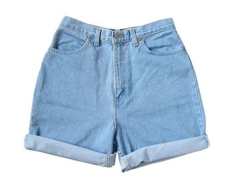 90s Y2K Light Ultra High Waisted Blue Jean Denim Shorts (Women's Size 30-31)