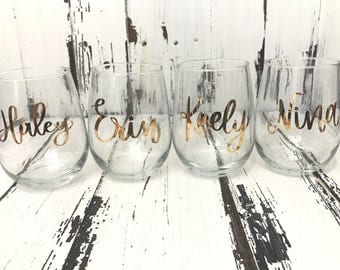 Customized Stemless Wine Glasses 17oz., Perfect for weddings, bridal showers, bachelorette parties, everyday use