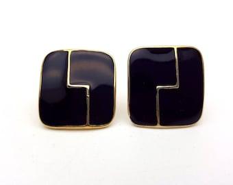 Vintage Clip on 60s Earrings Black Enamel on Gold Tone Metal Square Stud Geometric Aztec Modernist Mod Retro Classic Feminine Statement