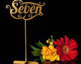 10 Wedding Table numbers. Gold Table numbers.Table numbers with base.