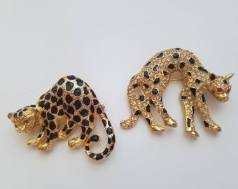 Classicly Fab! Vintage Jungle Cat/Leopard/Cougar Brooch Pins - Perfect Condition! Black and Gold - Rhinestone Cat - Crystal Stones-Parklane