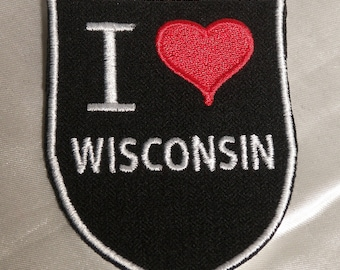 Embroidered Retro Vintage Style I Love Wisconsin WI State Pride Souvenir Patch Iron On Sew On USA
