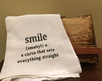 Funny kitchen towel, flour sack kitchen towel, Smile