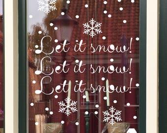 let it snow printable - snow print - winter print - printable windowart