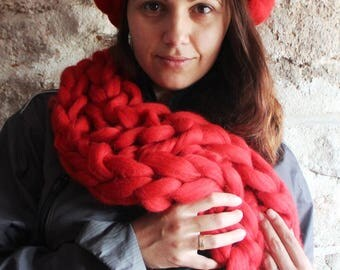 Chunky Knitted Scarf. Oversize Red Scarf. Bulky Red Tick Scarf. Arm Knitted Scarf. Merino Giant Chunky Scarf. Gift for Women. Christmas Gift