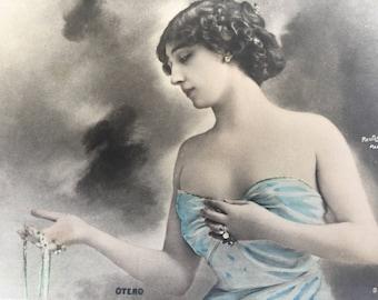 La Belle Otero, original 1900s photography postcard Reutlinger Paris, French antique photo postcard, La belle Epoque