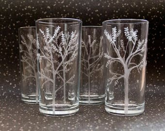 The Forest - Etched Hiball Tumbler Glass Set - One Set Available Only, Pagan, Wiccan, Nature Inspired Present, Christmas, Birthday