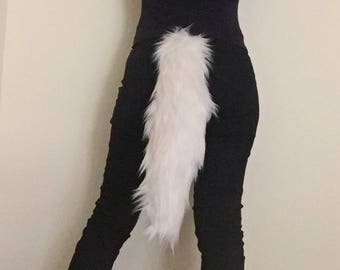"""18"""" Kawaii Ivory Off White Faux Fur Animal Cosplay Tail, Anime Convention Rave Costume Gear, Furry Fuzzy Accessory Idea"""