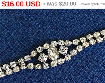 "Vintage Bracelet - Silver Tone - Rhinestone  6.5"" - Double Strand - Center Chat - Simple Elegance - Semi Formal - Formal - Prom"