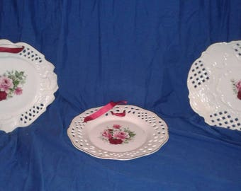 3 Antique Rose Wall Plates