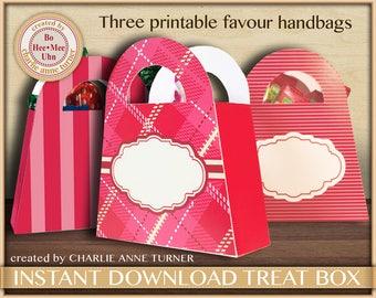DIY Pink candy gift box, bag, purse,handbag printable. Birthday - Celebration - Tartan - Party favour box. Digital INSTANT download
