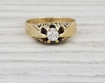 Vintage diamond solitaire ring in yellow gold