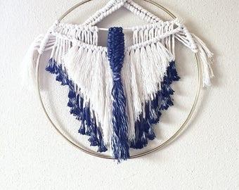 Dip dyed macramé ring, macrame dream catcher, dreamcatcher, southwestern decor, macrame art