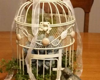 Chic vintage style Ivory Birdcage, off white metal cage,  planter