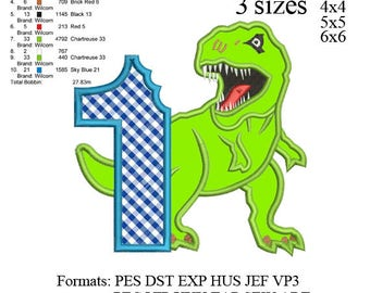 Scary T-rex Dinosaur Applique first birthday Embroidery Design,Dinosaur embroidery pattern No 575 ... 3 sizes