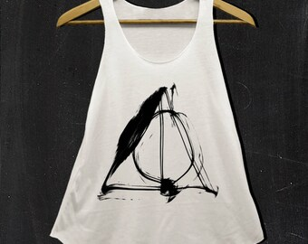 Deathly triangle Shirts Color white and off white tank top Ladies S M L