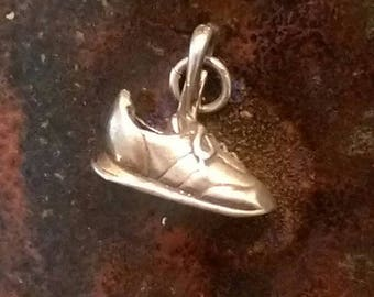 Vintage sterling silver sneaker running shoe charm necklace pendant or keychain charm