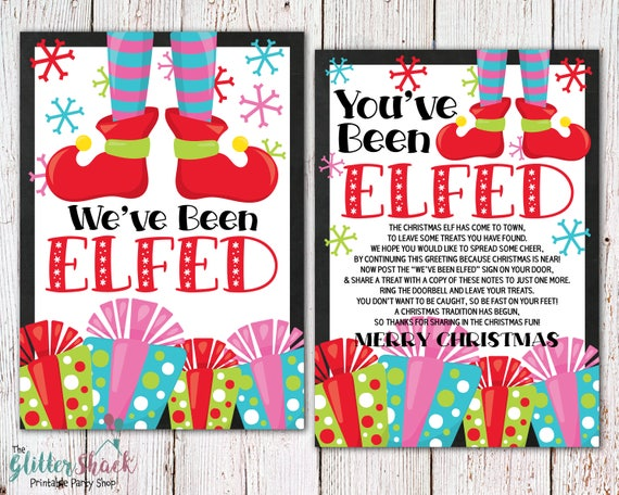 Printable You've Been Elfed Sign & Treat Tag - Merry Christmas