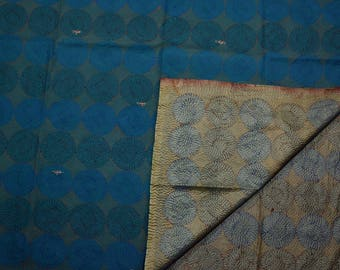 Vintage Large Women's Scarf, Circular Pattern Embroidery, Reversible, Indian Silk Saree Kantha Handmade Stole, Tapestry, Throw #KSC538