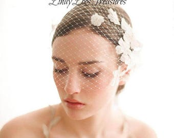 Bandeau Birdcage veil with flowers, Bandeau birdcage veil, Bridal mini veil, Small bridal veil,Flower Birdcage Veil, White Flower Fascinator