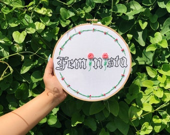 FEMINIST Embroidery hoop Art, Rose embroidery, 8 inch Embroidery Hoop, Embroidery Art, Custom Embroidery
