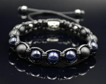 Men's Blue Sandstone Bracelet Beaded Bracelet Shamballa Bracelet Onyx Bracelet Gift for Men Macrame Bracelet Herren Armband Bead Bracelet