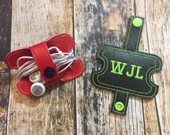Ear Buds Cord Keeper Wrap - Personalized - Monogrammed - Chose your Vinyl Color and Thread Color- Ear Phones Holder
