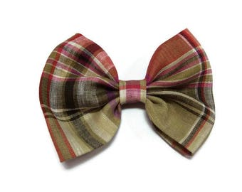 brown pink linen DOGbowtie for doggy summer outfit owner matched
