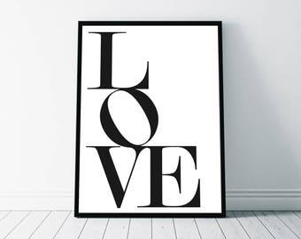 Love Print, Love Wall Art, Love Printable, Elegant Typography, Black White Love Typography, Love Sign, Love Art Printable, Nursery Decor art