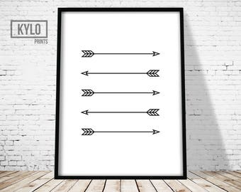 Arrows Print, Arrow Black and White Print, Wall Art Print, Home Print, Minimal Arrow Art, Arrows Digital Print, Minimalist Print, Home Art