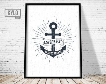 Nautical Quote, Nautical Poster, Nautical Illustration, Nautical Typography, Nautical Wall Art, Anchor Quote, Anchor Print, Anchor Word Art