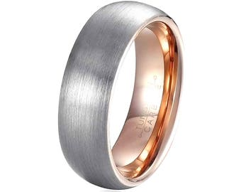 Mens Tungsten Wedding Band Rose Gold Plated Inside, Tungsten Ring. Promise Ring, Mens Wedding Band, Brushed Surface Comfort Fit 6mm & 8mm