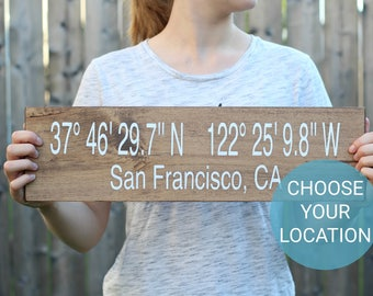 GPS Coordinate Sign - Latitude Longitude Sign - GPS Sign - Coordinates Sign - Address Sign - Custom Address Sign - Wall Art - Custom Sign
