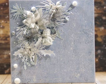 Shabby chic Christmas card with  handmade poinsettias and little angel