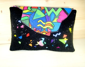 """Clutch """"Bel Air"""" glitter felt and embroidery"""