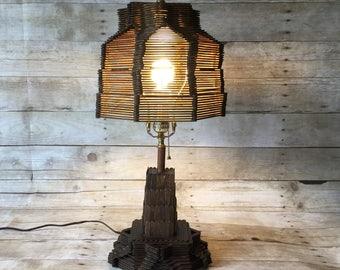 Tramp Art Popsicle Lamp - American Hobo Folk Art Lighting