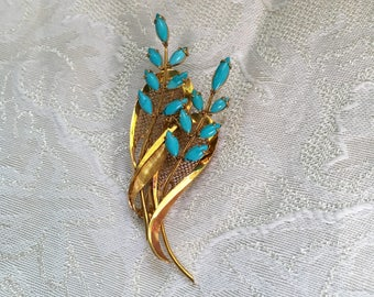 14K Turquoise Flower Spray Pin Brooch
