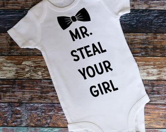 Mr. Steal Your Girl Bodysuit, Baby Boy Gift, Baby Shower Gift, New Baby Gift, Hipster Baby, Stylish Baby, Funny Baby