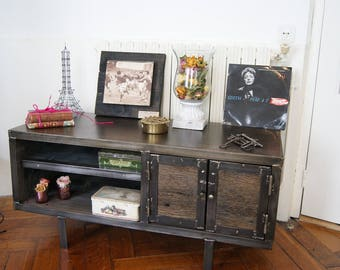 industrial steel and wood tv Cabinet