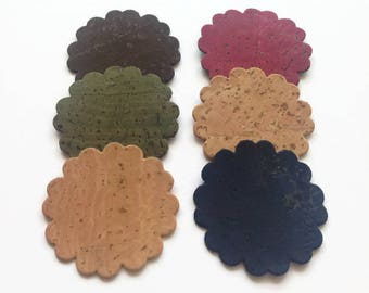 Cork Scalloped Circle Die Cut, Cork Fabric Decorative Applique for Craft and Sewing Needs