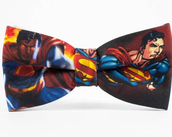 Mens bow ties, Superman Bow Tie, Superman BowTie, Toddler bow tie, Gift for him, Super hero Bow tie, Hero bow tie Hero bowtie Cartoon bowtie
