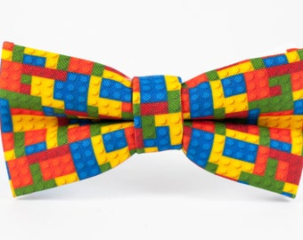 Boys Bow Tie, Colorful Bow Tie, Lego bow tie, Toddler Bow Tie,Handmade BowTie, Lego gift, Gift for toddler Party favors Lego bowtie Mens tie