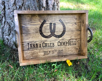 Rustic Horseshoe Wood Burned  Personalized Wood Serving Tray with Handles - Country Wedding Gift - Horseshoe Serving Tray -Personalized Tray