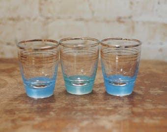 Trio of Blue Vintage Shot Glasses