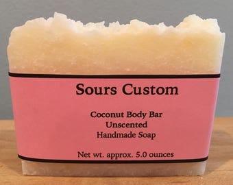 Coconut Body Bar, Coconut Oil Soap, Unscented, Sensitive Skin, Oily Skin, Soap, Natural Soap