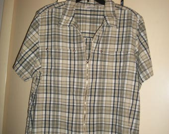 Vintage Plus Size Plaid Zip-Up Shirt Size 18-20