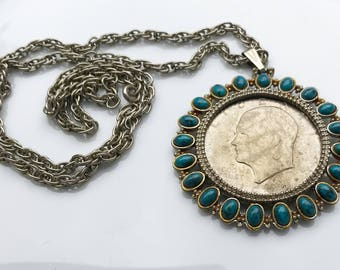 """Vintage Pendant Necklace with 1972 """"Silver Dollar"""" Coin and Faux Turquoise"""