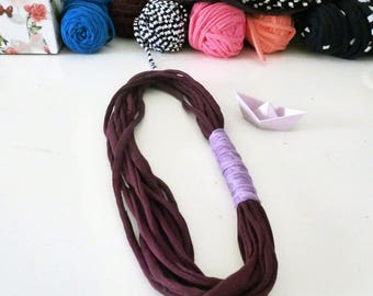 Necklace strap multiwire plum and lilac